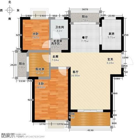 南昌莱蒙都会2室0厅1卫1厨96.00㎡户型图