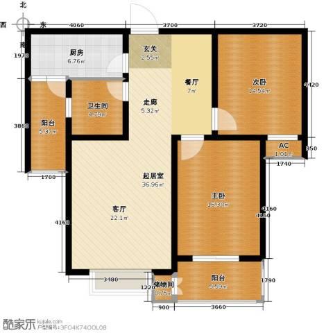 丽景华庭2室0厅1卫1厨101.00㎡户型图