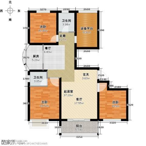 滨江国际3室0厅2卫1厨114.00㎡户型图