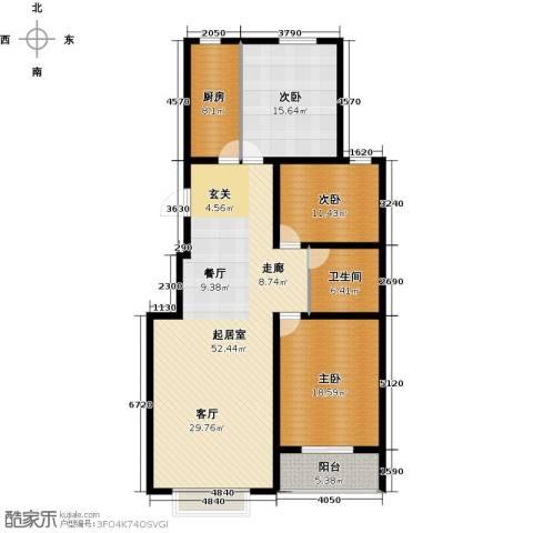 丽景华庭3室0厅1卫1厨164.00㎡户型图