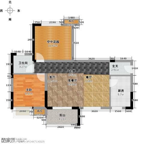 锦地繁花1室1厅1卫1厨79.00㎡户型图