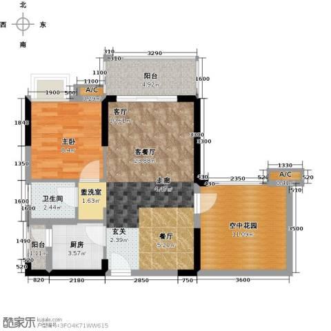 锦地繁花1室1厅1卫1厨62.00㎡户型图