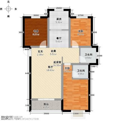 外滩森林3室0厅2卫1厨115.00㎡户型图