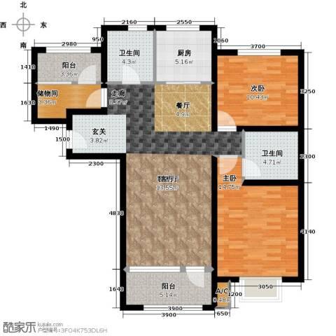 中铁秦皇半岛2室1厅2卫1厨119.00㎡户型图