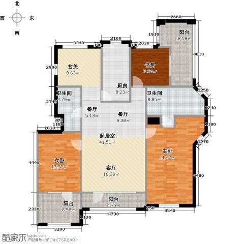 听雨观澜电梯洋房3室0厅2卫1厨173.00㎡户型图
