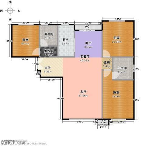 中央豪庭1厅2卫1厨132.00㎡户型图