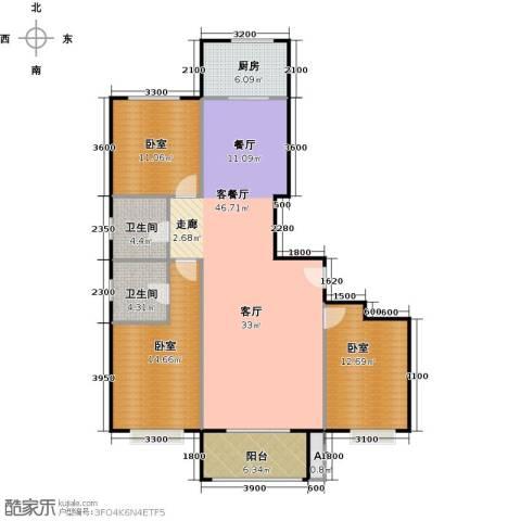中央豪庭1厅2卫1厨136.00㎡户型图