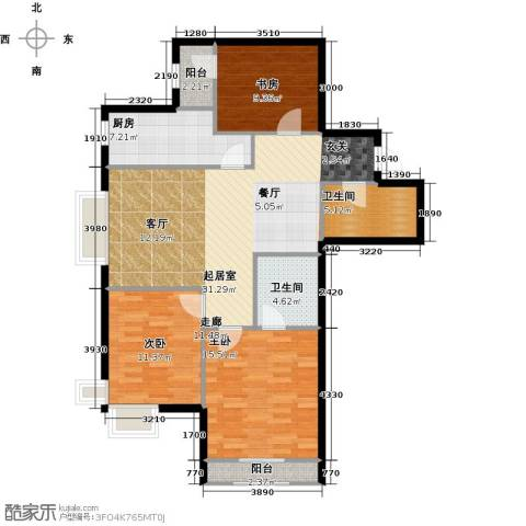新松・茂樾山3室0厅2卫1厨108.00㎡户型图