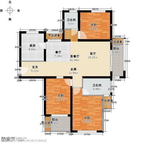 鑫苑景城3室1厅2卫1厨130.00㎡户型图