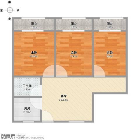 假日苑3室1厅1卫1厨63.00㎡户型图