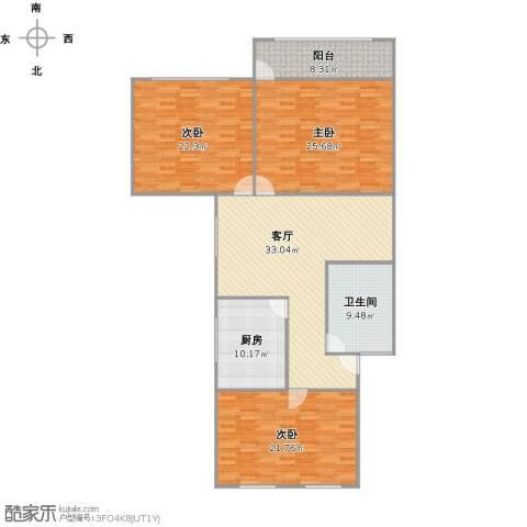 银都八村3室1厅1卫1厨173.00㎡户型图
