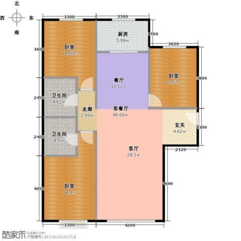 中央豪庭1厅2卫1厨129.00㎡户型图