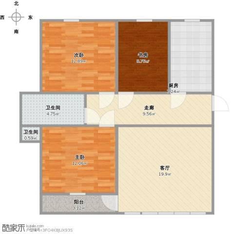 金榜华庭3室1厅2卫1厨107.00㎡户型图