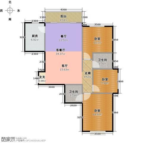 中央豪庭1厅2卫1厨116.00㎡户型图