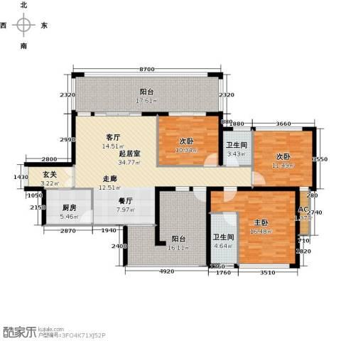 金沙世纪城3室0厅2卫1厨138.00㎡户型图