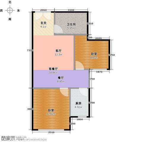 中央豪庭1厅1卫1厨76.00㎡户型图
