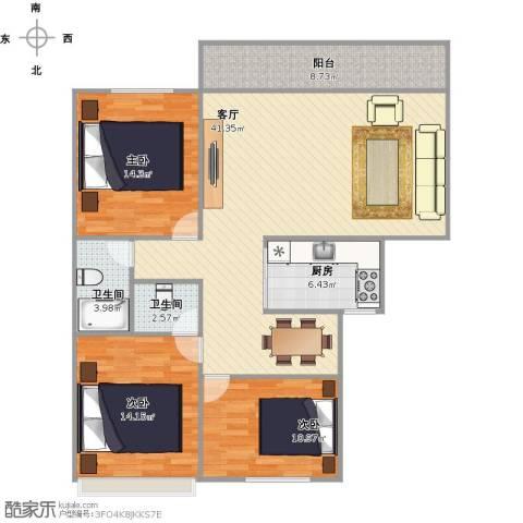 美湖花园3室1厅2卫1厨138.00㎡户型图