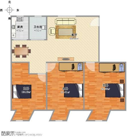 美仁红楼3室1厅1卫1厨153.00㎡户型图