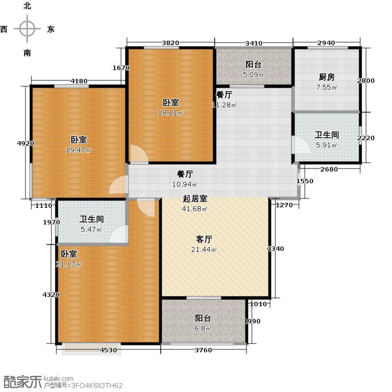西上海华府天地139.00㎡琉璃天境户型3室2厅2卫