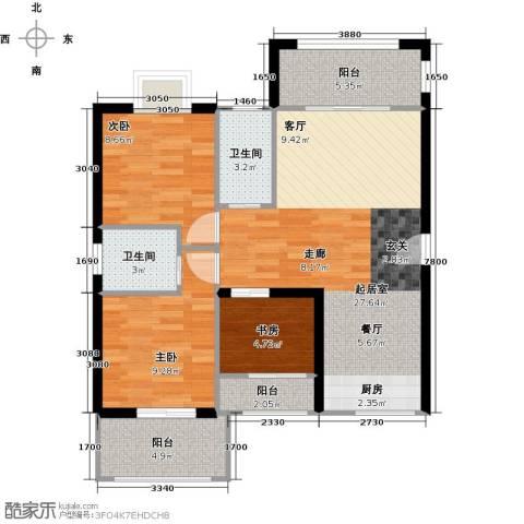 德化优山美地3室0厅2卫0厨97.00㎡户型图