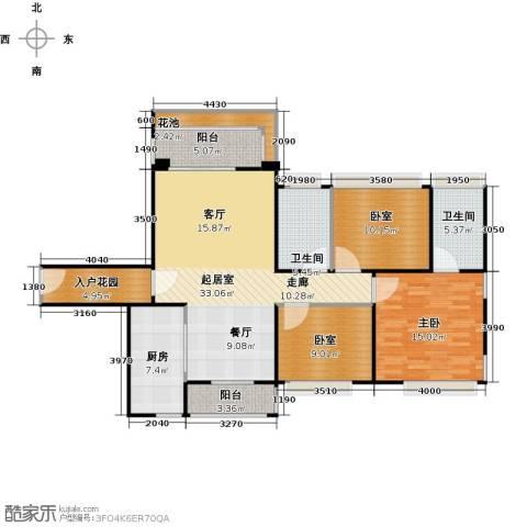 南沙创鸿汇1室0厅2卫1厨107.00㎡户型图