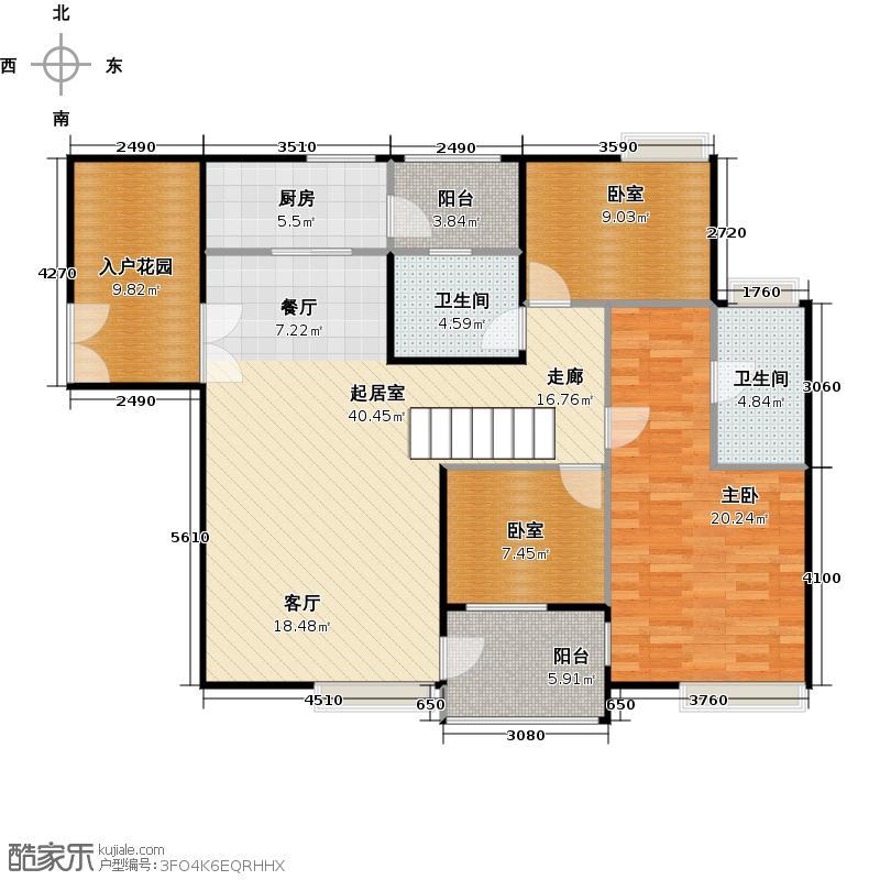 星品C5/C6栋03单位双数层户型1室2卫1厨