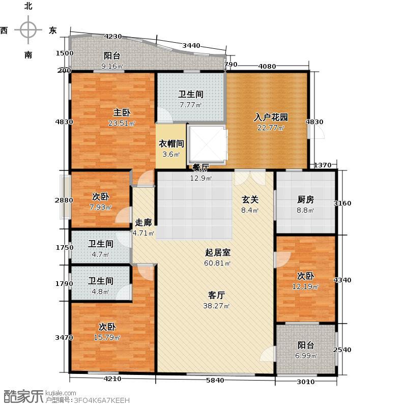 大学城馨园D2栋12层-02单元三阳台户型4室3卫1厨