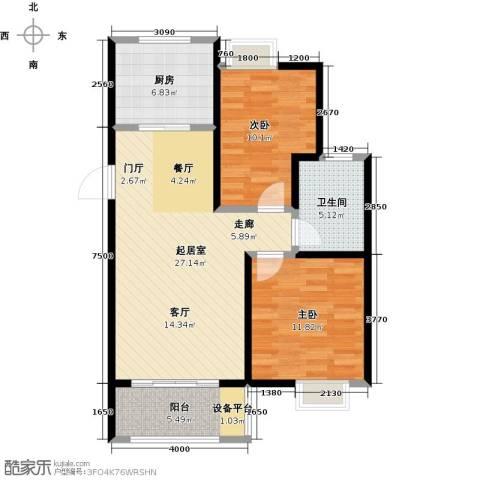 旭辉苹果乐园2室0厅1卫1厨75.00㎡户型图