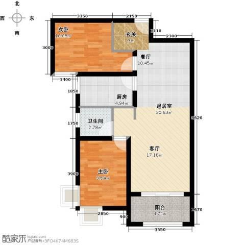 紫郡2室0厅1卫1厨100.00㎡户型图