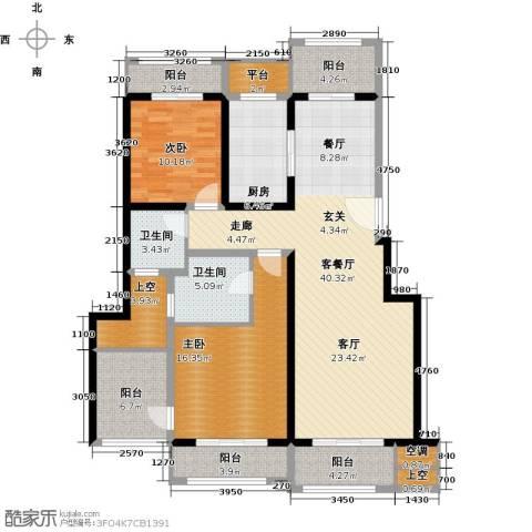 悦上海2室1厅2卫1厨130.00㎡户型图