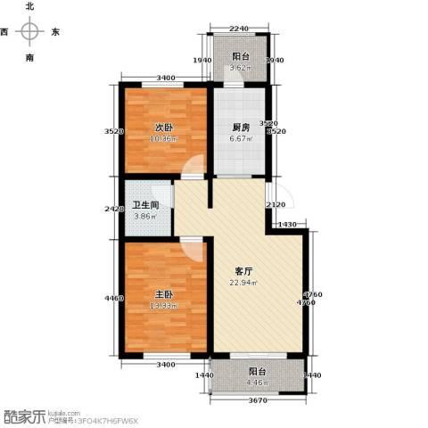 天津未来城2室1厅1卫1厨75.00㎡户型图