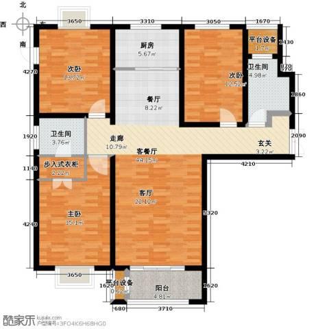 众美凤凰绿都3室1厅2卫1厨129.00㎡户型图