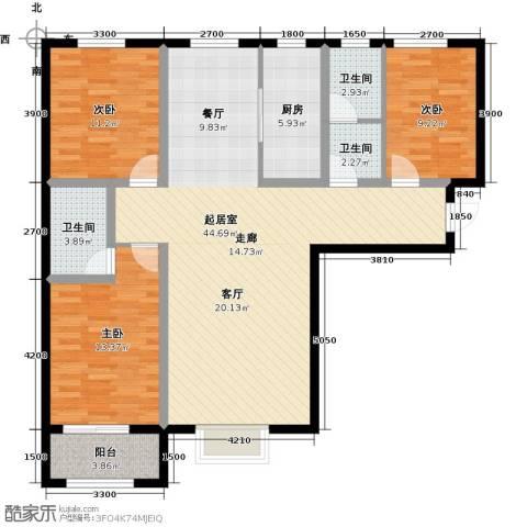 紫郡3室0厅3卫1厨140.00㎡户型图