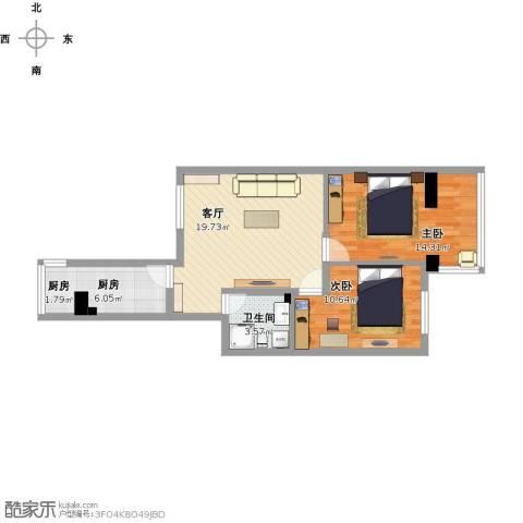 西平里2室1厅1卫1厨79.00㎡户型图