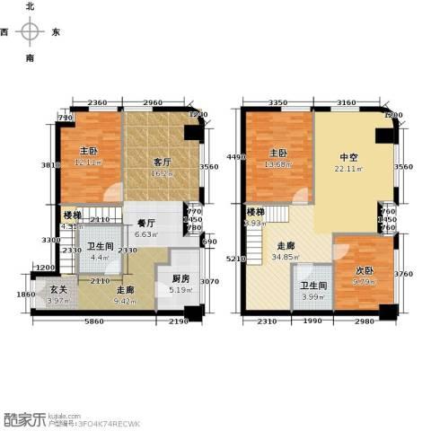 宝能青春汇3室0厅2卫1厨94.00㎡户型图