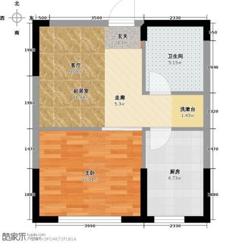 万家翔悦1室0厅1卫1厨46.00㎡户型图