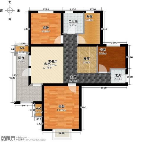中铁秦皇半岛3室1厅1卫1厨104.00㎡户型图