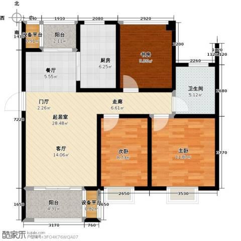 旭辉苹果乐园3室0厅1卫1厨89.00㎡户型图