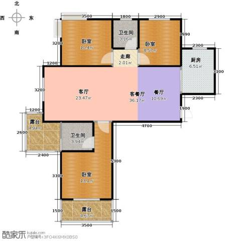 城发花园1厅2卫1厨106.00㎡户型图