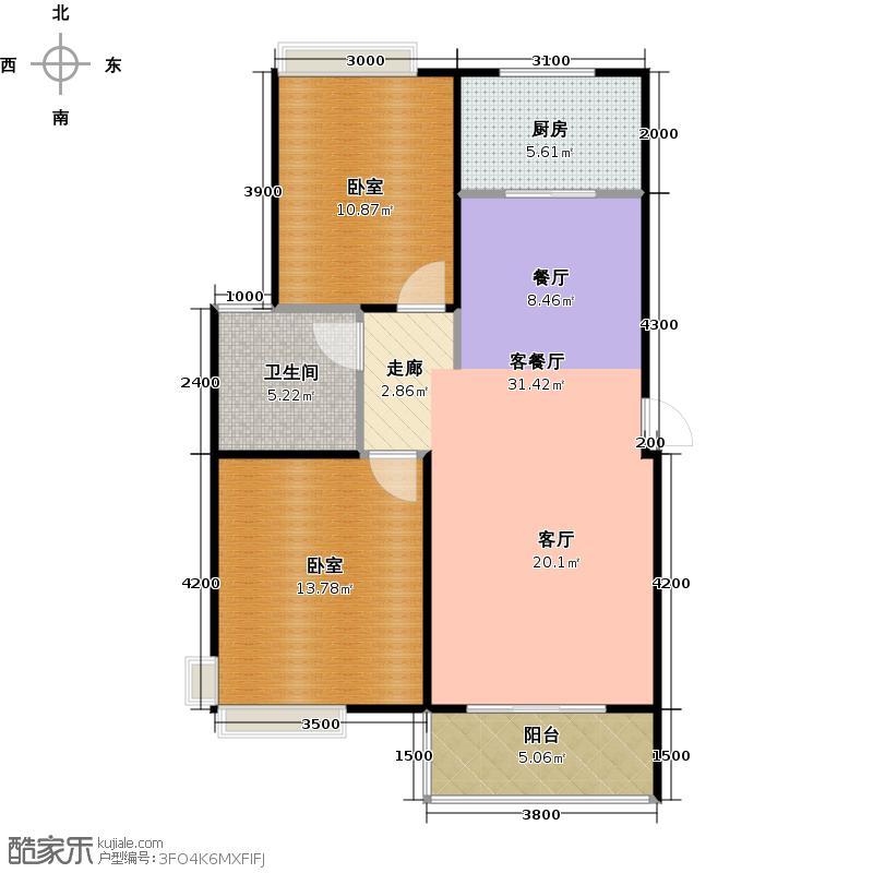 城发花园98.57㎡A户型2室2厅1卫