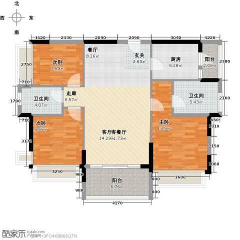 万好美域3室1厅2卫1厨99.00㎡户型图