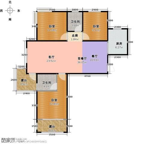 城发花园1厅2卫1厨120.00㎡户型图