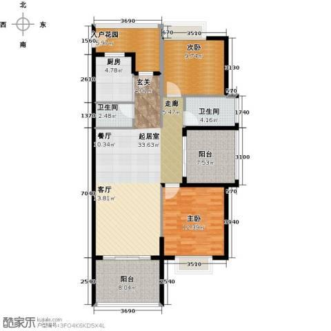 金祥・万卷山2室0厅2卫1厨105.00㎡户型图