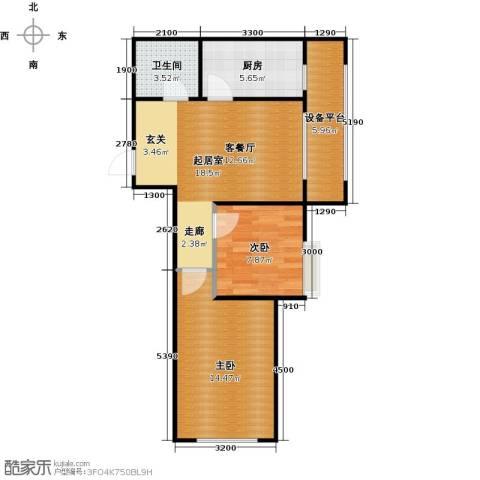 唐轩首府2室0厅1卫1厨72.00㎡户型图