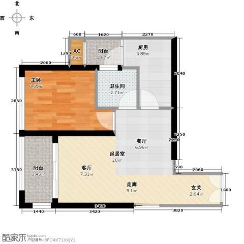 金沙世纪城1室0厅1卫1厨61.00㎡户型图