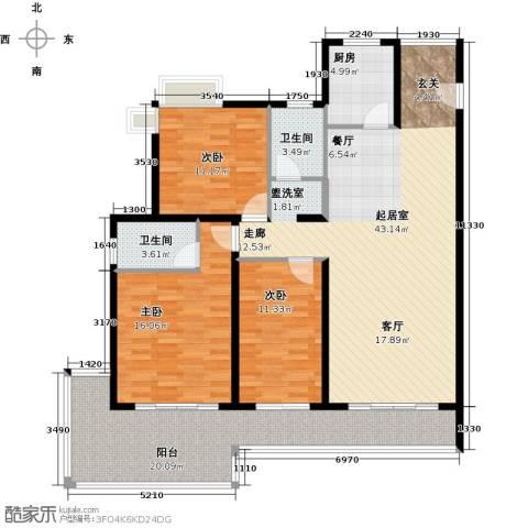 金祥・万卷山3室0厅2卫1厨132.00㎡户型图