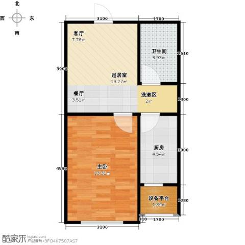 唐轩首府1室0厅1卫1厨51.00㎡户型图