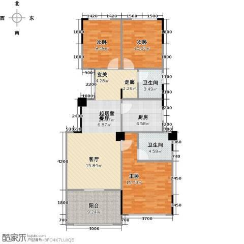 阳光下的红屋顶3室0厅2卫1厨102.00㎡户型图
