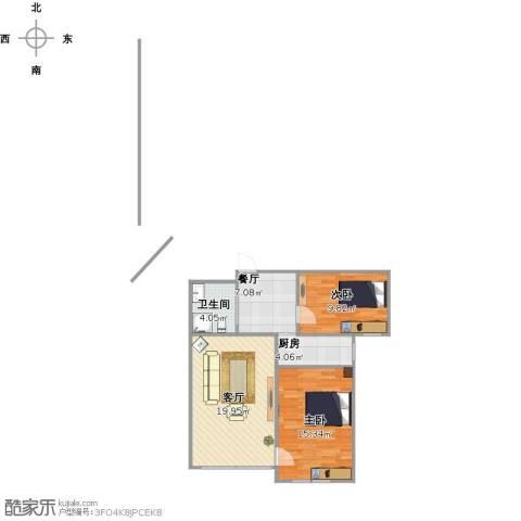 凯顺佳园2室2厅1卫1厨80.00㎡户型图