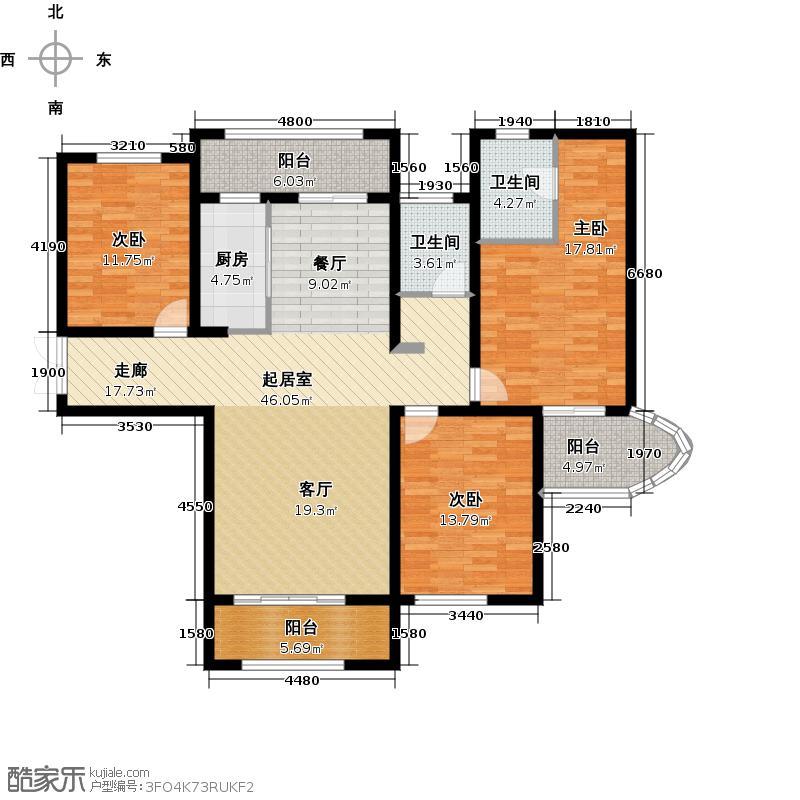 国润城三室两厅两卫135.77㎡户型3室2厅2卫